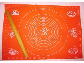 Силиконовый антипригарный коврик для выпечки и раскатки теста 40x30 см Красныйковрик для запекания