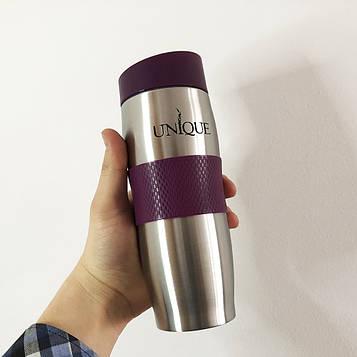 Подарок Термокружка UNIQUE UN-1072 0.38 л. Цвет: фиолетовый силиконовая вставка, противоскользящее дно