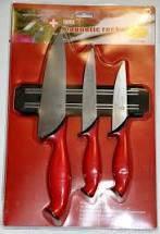 Набір металевих ножів Swiss Zurich SZ-13102 + магнітна рейка-тримачКухонные ножи блистеруниверсальные 3 шт.