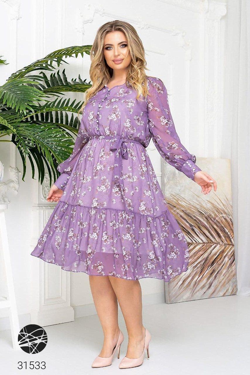Ніжна шифонова сукня з V-подібним вирізом і об'ємними рукавами з сітки з 48 до 54 розмір