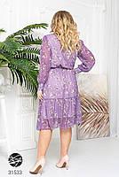 Ніжна шифонова сукня з V-подібним вирізом і об'ємними рукавами з сітки з 48 до 54 розмір, фото 2