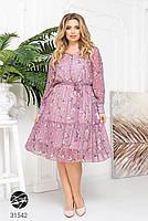 Ніжна шифонова сукня з V-подібним вирізом і об'ємними рукавами з сітки з 48 до 54 розмір, фото 4