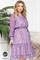 Ніжна шифонова сукня з V-подібним вирізом і об'ємними рукавами з сітки з 48 до 54 розмір, фото 3