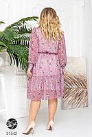 Ніжна шифонова сукня з V-подібним вирізом і об'ємними рукавами з сітки з 48 до 54 розмір, фото 5