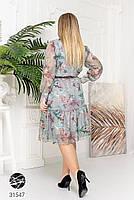 Ніжна шифонова сукня з V-подібним вирізом і об'ємними рукавами з сітки з 48 до 54 розмір, фото 6