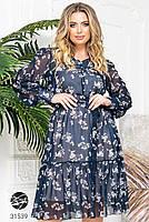Ніжна шифонова сукня з V-подібним вирізом і об'ємними рукавами з сітки з 48 до 54 розмір, фото 7