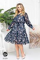Ніжна шифонова сукня з V-подібним вирізом і об'ємними рукавами з сітки з 48 до 54 розмір, фото 8