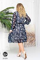 Ніжна шифонова сукня з V-подібним вирізом і об'ємними рукавами з сітки з 48 до 54 розмір, фото 9