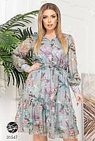 Ніжна шифонова сукня з V-подібним вирізом і об'ємними рукавами з сітки з 48 до 54 розмір, фото 10