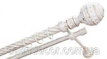 Карниз для штор металевий АРАБЕСКА подвійний 25+19мм 3.0м Кручена Біле золото