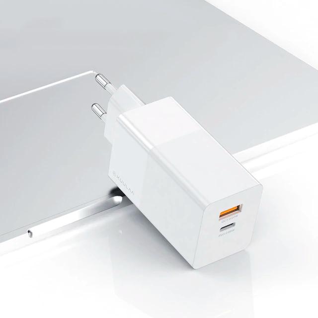 Зарядний KUULAA GaN QC4.0 Type-C+USB 65W EU white