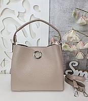 Стильная женская сумка с эко-кожи капучино, модная вместительная сумка люкс качество