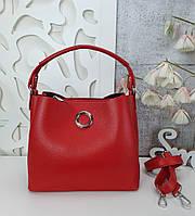 Стильная женская сумка с эко-кожи красная, модная вместительная сумка люкс качество