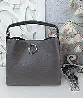 Стильная женская сумка с эко-кожи серая, модная вместительная сумка люкс качество