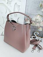 Стильная женская сумка с эко-кожи темная пудра, модная вместительная сумка люкс качество
