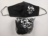 Многоразовые маски ПИТТА 100% КОТТОН! Трикотажные черные, принты с логотипом Печать на защитных масках Украина, фото 10
