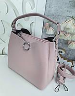 Стильная женская сумка с эко-кожи цвет сахарной ваты, модная вместительная сумка люкс качество