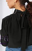 Женская черная блузка с бантом на спине  010В/03, фото 1