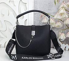 Модная женская сумка с эко-кожи черная, стильная сумка люкс качество