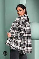 Стильна жіноча сорочка вільного крою в клітку, застібається на кнопки з 42 по 48 розмір, фото 3