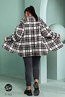 Стильна жіноча сорочка вільного крою в клітку, застібається на кнопки з 42 по 48 розмір, фото 4