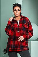 Стильна жіноча сорочка вільного крою в клітку, застібається на кнопки з 42 по 48 розмір, фото 5