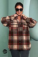 Стильна жіноча сорочка вільного крою в клітку, застібається на кнопки з 42 по 48 розмір, фото 2