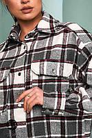 Стильна жіноча сорочка вільного крою в клітку, застібається на кнопки з 42 по 48 розмір, фото 9