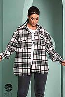 Стильна жіноча сорочка вільного крою в клітку, застібається на кнопки з 42 по 48 розмір, фото 7