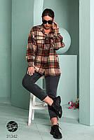 Стильна жіноча сорочка вільного крою в клітку, застібається на кнопки з 42 по 48 розмір, фото 8