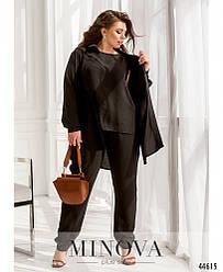Чёрный костюм брючный тройка женский большого размера батал норма