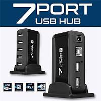 USB HUB на 7 портів Digital USB 2.0 Ігровий юсб хаб розгалужувач з блоком живлення, Чорний, фото 1