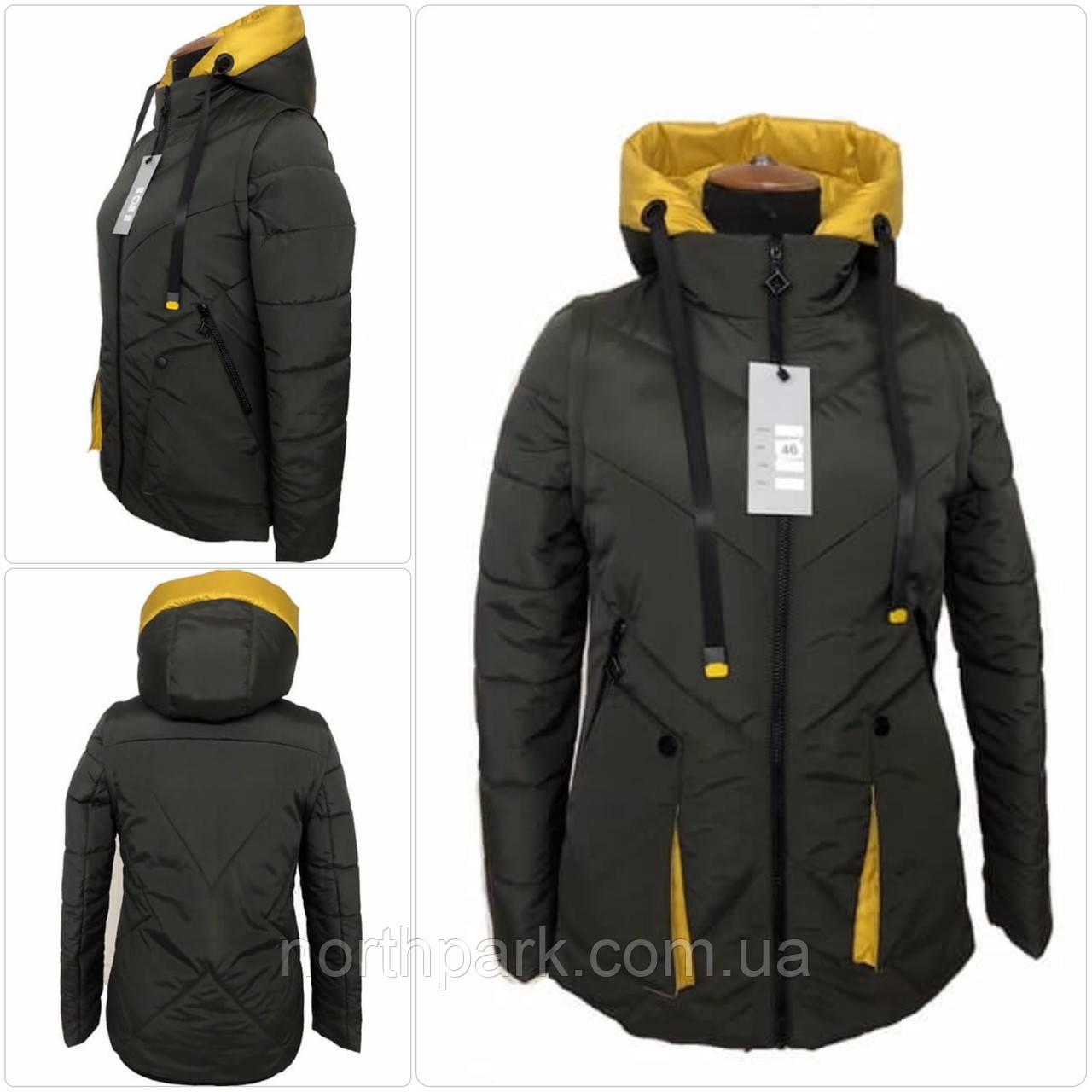 """Демісезонна куртка-жилет трансформер """"Вест"""", темний хакі"""