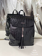 Стильный женский рюкзак черный Рептилия, модный мини рюкзачок для девушек