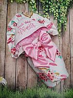 Нарядный конверт на выписку с  вышивкой и рюшами для девочек  Принцесса