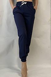 Батальные женские летние штаны, софт №103 синий