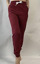 Батальные женские летние штаны, софт №103 бордовый