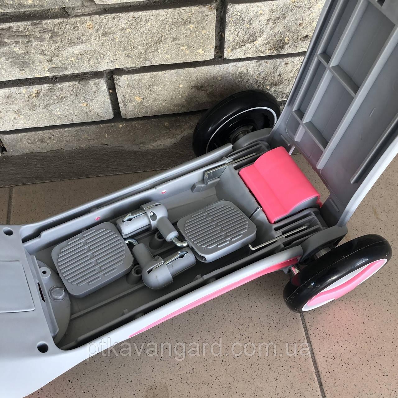 Велосипед триколісний Самокат Беговел 3 в 1 Сіро-рожевий трансформер музика підсвічування Best Scooter JT 90601, фото 6