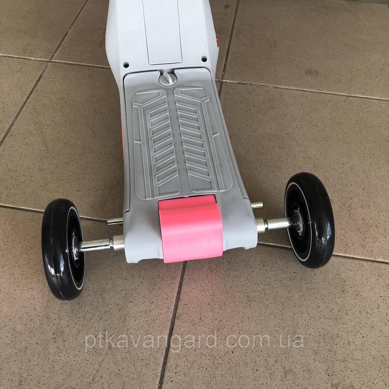 Велосипед триколісний Самокат Беговел 3 в 1 Сіро-рожевий трансформер музика підсвічування Best Scooter JT 90601, фото 5