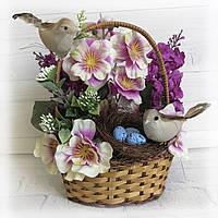 Сувенир на пасху корзинка с птичками Пасхальная поделка в детский сад или школу Ручная работа