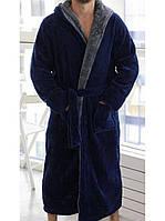 Мужской махровый сине-серый халат больших размеров Romance с капюшоном на запах и 2 кармана