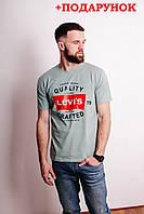 Мужская футболка серого цвета свободная с логотипом Levi's