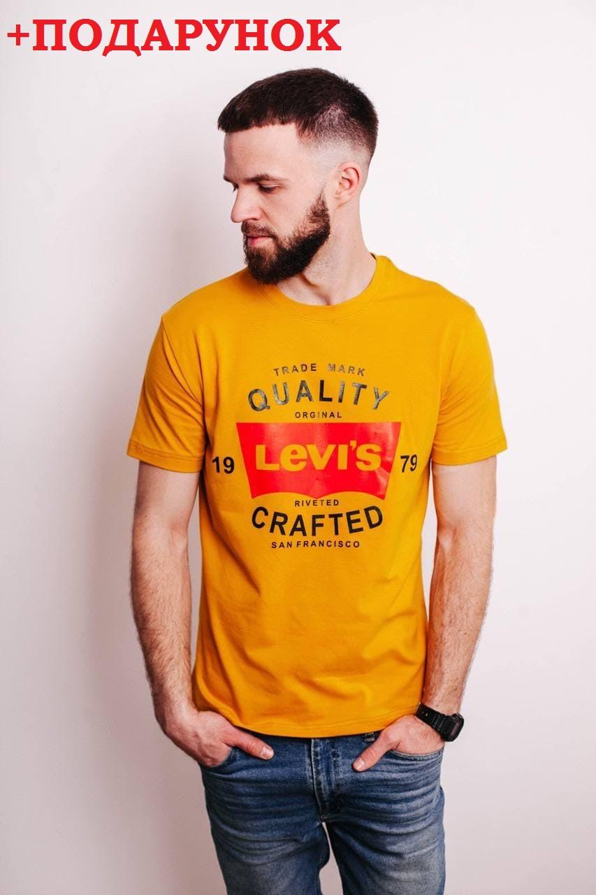 Чоловіча футболка з бавовни стильна з логотипом levi's