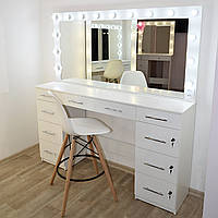 Макияжный стол под барный стул и гримерное зеркало с подсветкой белый 1700 мм
