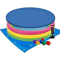 Детский надувной бассейн Intex 57422-3 «Цвета заката», 147 х 33 см, с шариками 10 шт, тентом, подстилкой,
