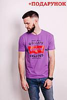 Мужская футболка молодежная фиолетовая с логотипом Levi's