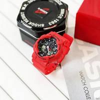 Наручные мужские спортивные электронные часы Casio G-SHOCK GA-100, водостойкие кварцевые часы красные