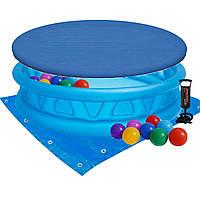Детский надувной бассейн Intex 58431-3 «Летающая тарелка», 188 х 46 см, с шариками 10 шт, тентом, подстилкой и