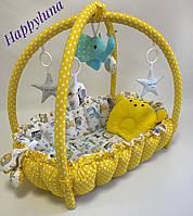 """Детский игровой развивающий коврик - Кокон гнездышко для новорожденного 2 в 1 """" Зоопарк """""""