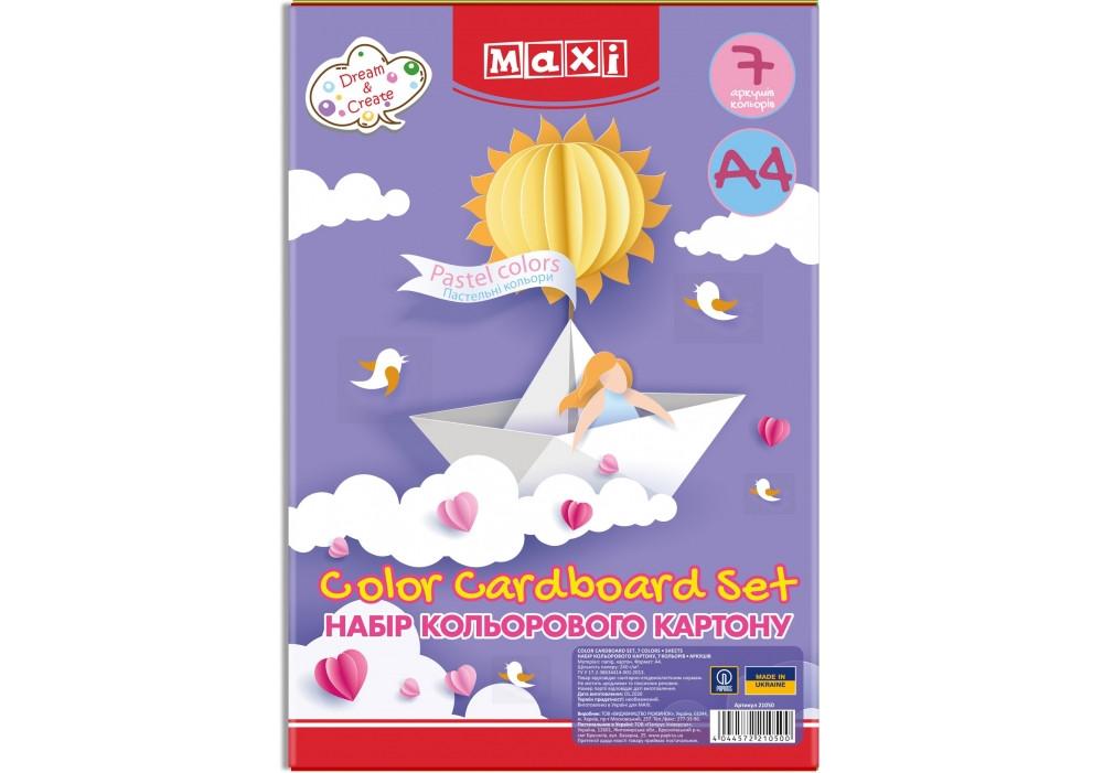 """Набір картону кольорового """"Пастель"""", А4, 7 л. і цв., односторонній MX21050"""